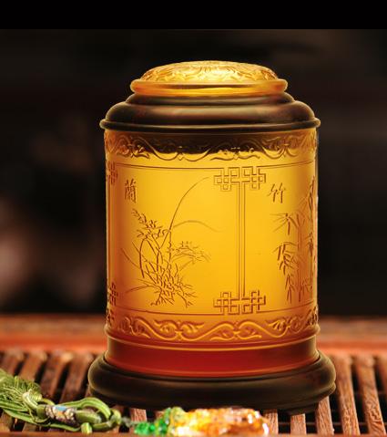 黑檀木嵌琉璃茶叶罐(梅兰竹菊)