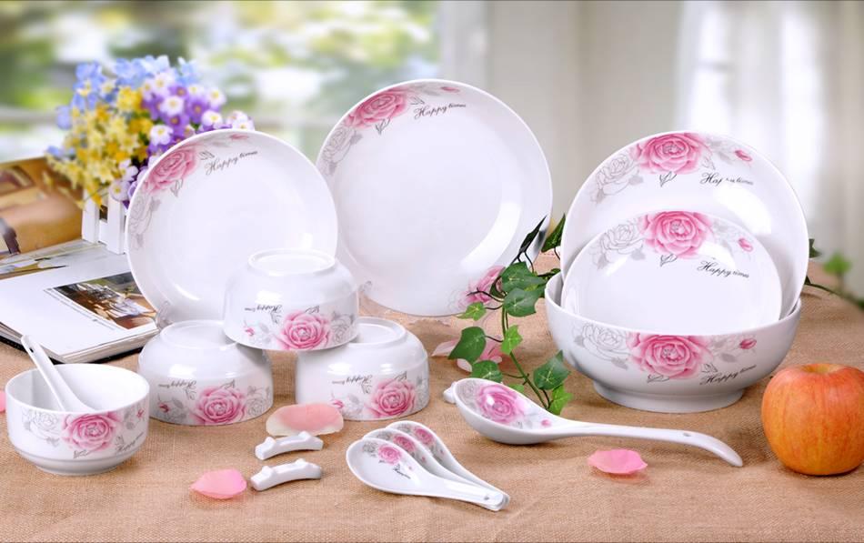 18头陶瓷餐具,厨房餐具,快乐时光