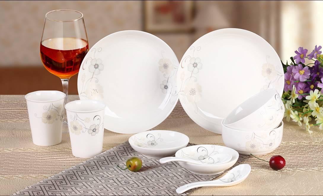 10头陶瓷餐具,厨房餐具,端庄淡雅